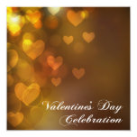 Gold Hearts Chocolate Valentine Party Invitation Announcements