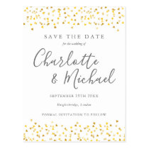 Gold Hearts Confetti Signature Save the Date Card