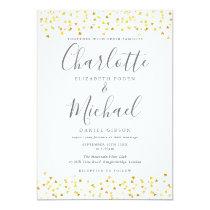 Gold  Hearts Confetti Signature Wedding Invitation