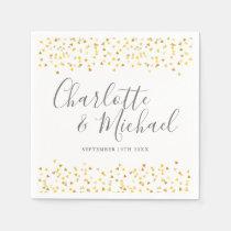 Gold Hearts Confetti Signature Wedding Napkin