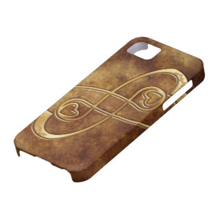 Gold Hearts Double Infinity on Leather - iPhone iPhone 5 Cases