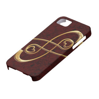 Gold Hearts Double Infinity on Red Marble - iPhone iPhone SE/5/5s Case