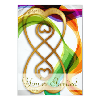Gold Hearts Double Infinity & Rainbow Ribbons - 1 4.5x6.25 Paper Invitation Card