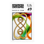 Gold Hearts Double Infinity & Rainbow Ribbons - 2 Postage Stamp