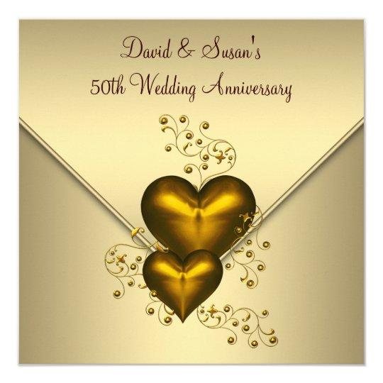 Gold Hearts Elegant Gold 50th Wedding Anniversary Card Zazzlecom