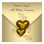 Gold Hearts Elegant Gold 50th Wedding Anniversary Personalized Invite