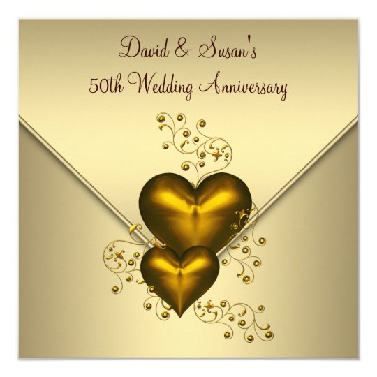 gold hearts elegant gold 50th wedding anniversary invitation - Wedding Anniversary Cards