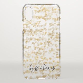 Gold Hearts iPhone X Case