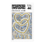 Gold Hearts Love Stamps