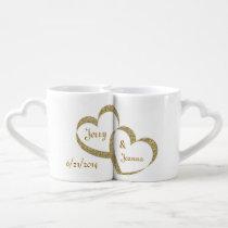 Gold Hearts Newlywed Mug Set