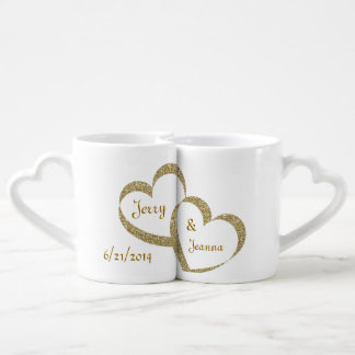 Gold Hearts Newlywed Mug Set