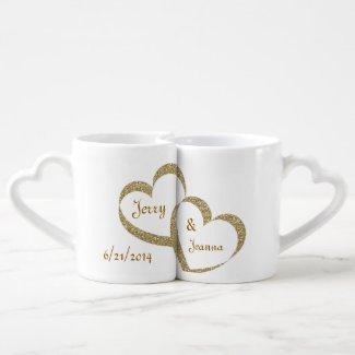 Gold Hearts Newlywed Mug Set Lovers Mug