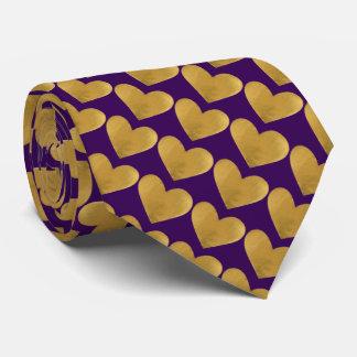 Gold Hearts on Purple Tie