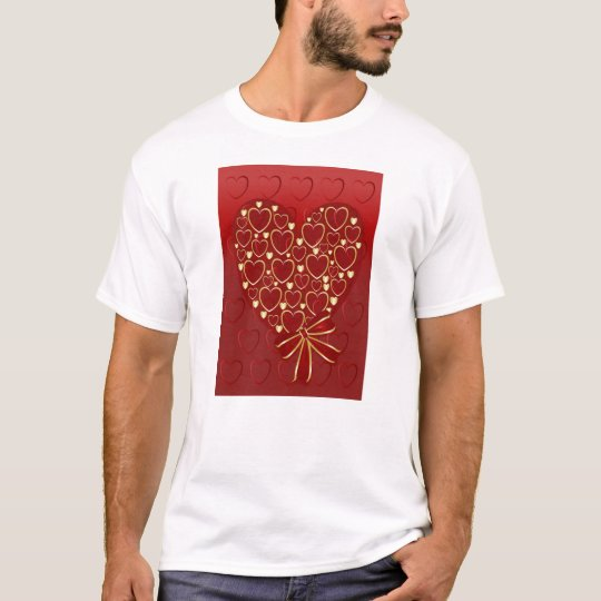Gold hearts on red T-Shirt