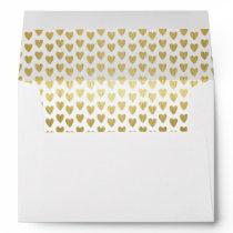 Gold Hearts Pattern Decorative Inside Lined Envelope