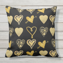 gold hearts pattern on black throw pillow