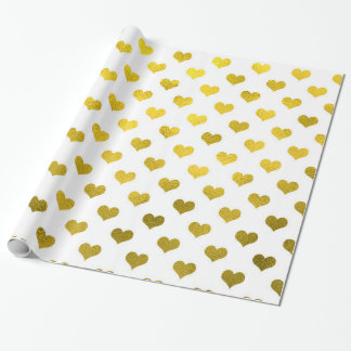 Gold Hearts Polka Dot Heart Metallic Pattern Wrapping Paper