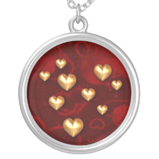 Gold Hearts Red Hearts Sterling Silver Necklace