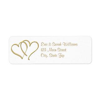 Gold Hearts Return Address Labels