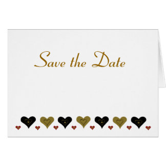 Gold Hearts Save the Date Card