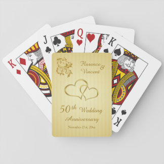 Gold hearts, swirls 50th Wedding Anniversary Playing Cards
