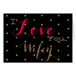 Gold Hearts Valentine's Day horizontal Greeting Card