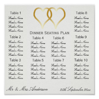 Gold Hearts Wedding Dinner Seating Plan Poster