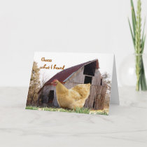 Gold Hen and Old Barn - customize any occasion Card