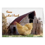 Gold Hen and Old Barn - customize any occasion Greeting Card