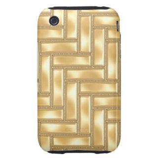 Gold Herringbone Tough iPhone 3 Case