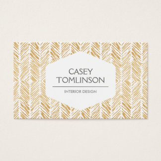 GOLD HERRINGBONE / CHEVRON ARTWORK BUSINESS CARD