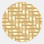 Gold Herringbone Classic Round Sticker