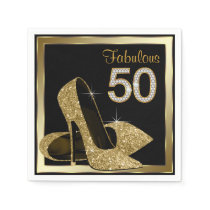 Gold High Heel 50th Birthday Party Paper Napkin