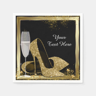 Gold High Heel Birthday Party Paper Napkin