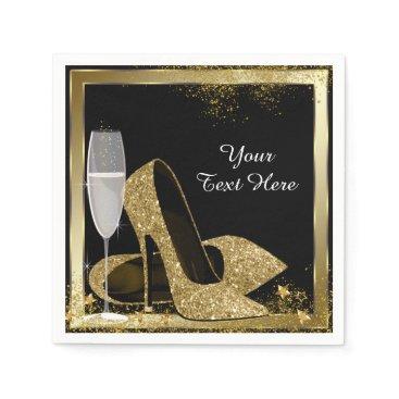 birthday Gold High Heel Birthday Party Paper Napkin