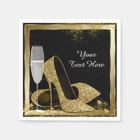 Gold High Heel Birthday Party Paper Napkins