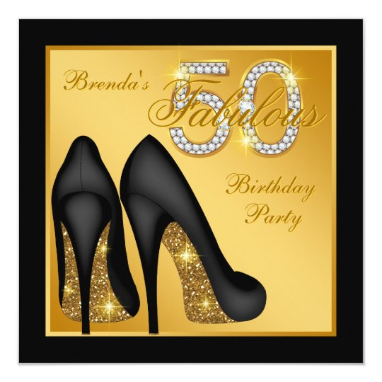 Gold High Heel Shoe Fabulous 50th Birthday Party Invitation