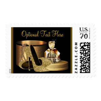 Gold High Heel Shoe Postage Stamps