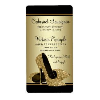 Gold High Heel Shoe Wine Bottle Labels
