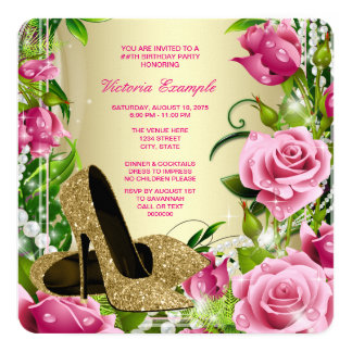 Gold High Heel Shoe Womans Rose Birthday Party Card