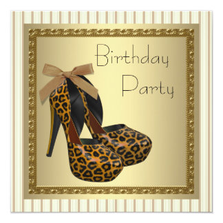 Gold High Heel Shoes Womans Leopard Birthday Personalized Invitation