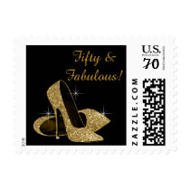 Gold High Heels Shoes Postage Stamp