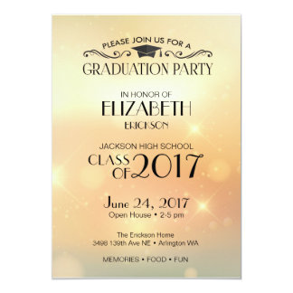 gold high school graduation party invitation - Invitation For Graduation