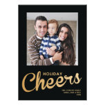 Gold Holiday Cheers Family Photo Christmas Card
