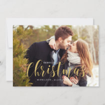 Gold Holiday Pines Photo Greeting