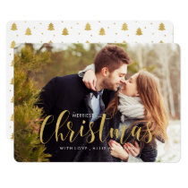 Gold Holiday Pines Photo Greeting Card