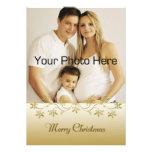 Gold Holly Border Christmas Photo Card