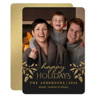 Gold Holly Happy Holiday Photo Flat Card