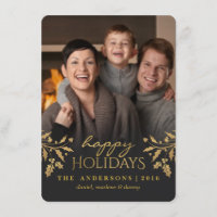 Gold Holly Happy Holiday Photo Flat Card