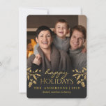 """Gold Holly Happy Holiday Photo Flat Card<br><div class=""""desc"""">Elegant Christmas Holiday Photo card with faux gold-foil holly branches and berries and gradient gray overlay.  Recommended for dark photos. NOTE:  this design is a flat image simulated to look like it has a metallic shimmer.</div>"""
